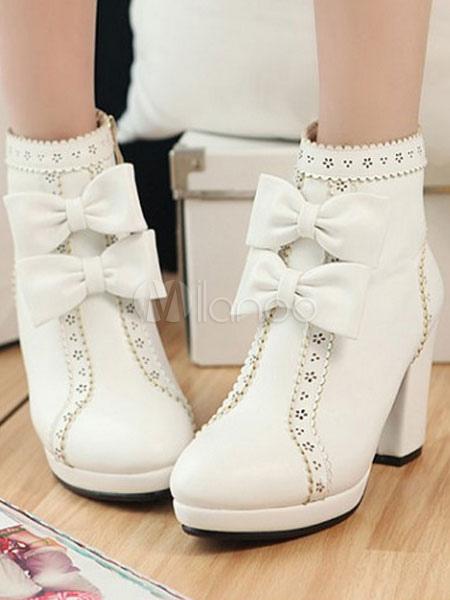 Botas de lolita poliuretano blancas LEq4fcj
