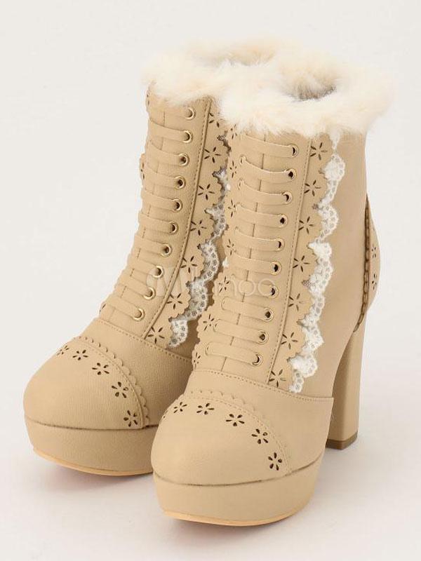 Sweet Lolita Boots Fur Chunky Heel Kawaii Ankle Boots