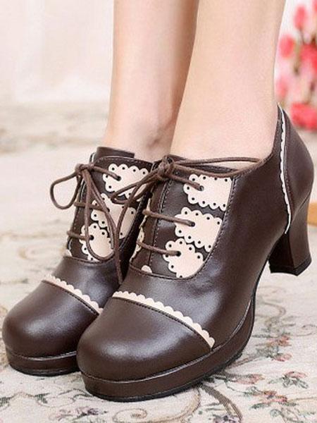 Sweet Lolita Shoes Chunky Heel Lace Up Ruffles Pumps
