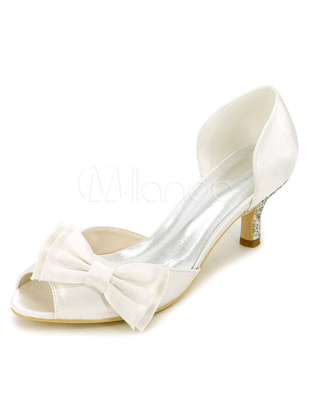 Buy Ivory Wedding Shoes Satin Kitten Heel Pumps Bow Peep Toe Bridal Shoes for $47.49 in Milanoo store