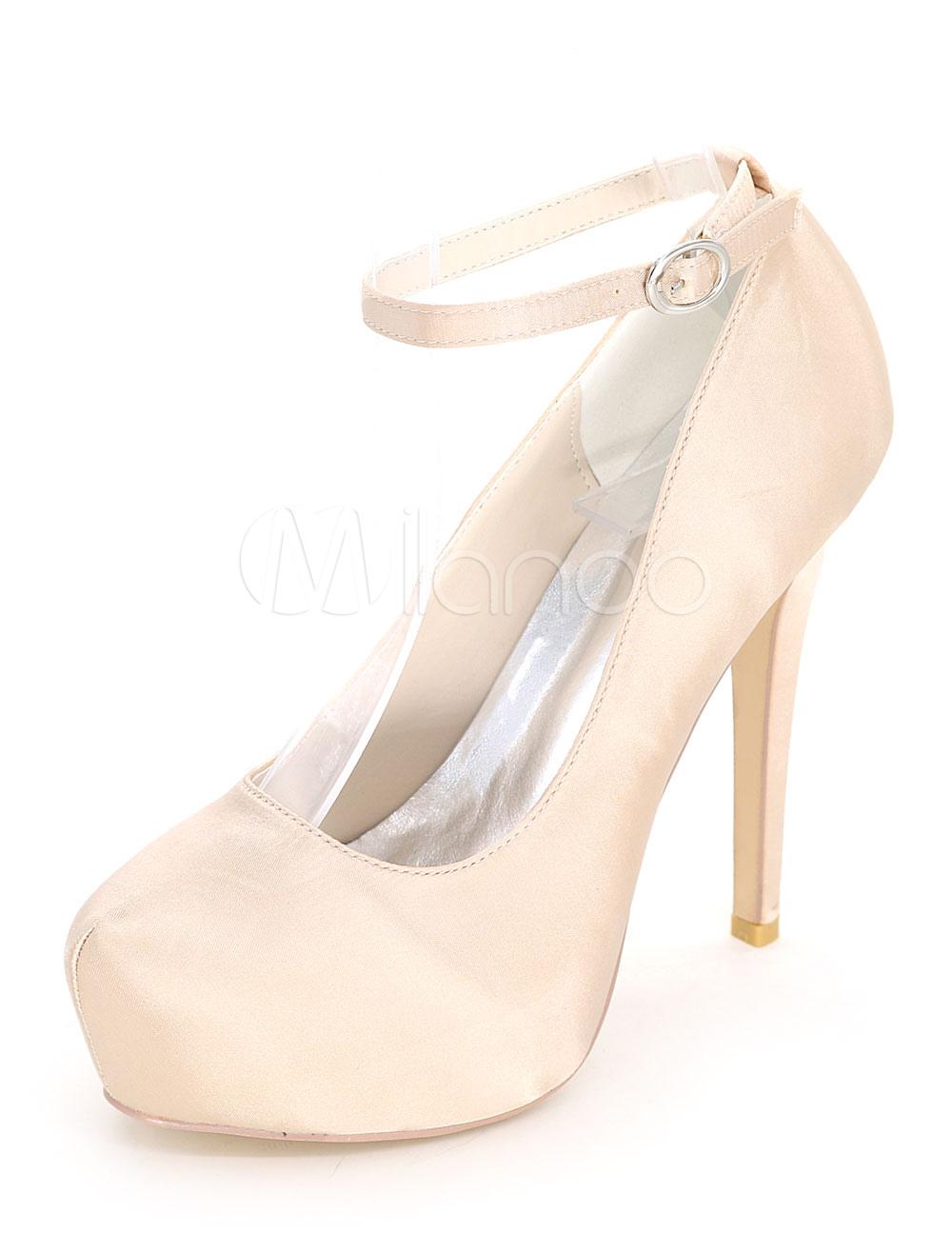 Platform Wedding Shoes High Heel Ankle Strap Satin Bridal Shoes