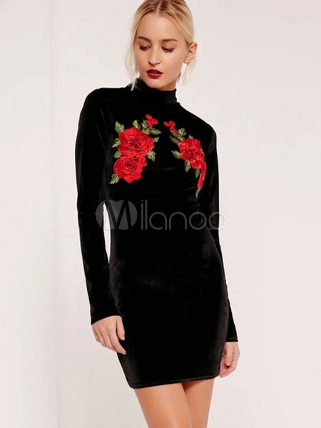 Buy Black Bodycon Dress Velvet Embroidered Stand Collar Short Sheath Dress For Women for $25.48 in Milanoo store