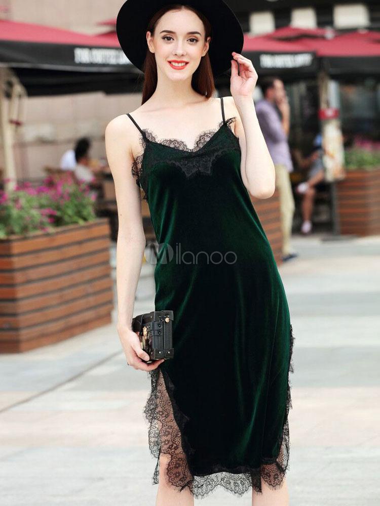 new product b44ab 2223b Vestito velluto lungo spalline con spacco pizzo fino al ginocchio per donna