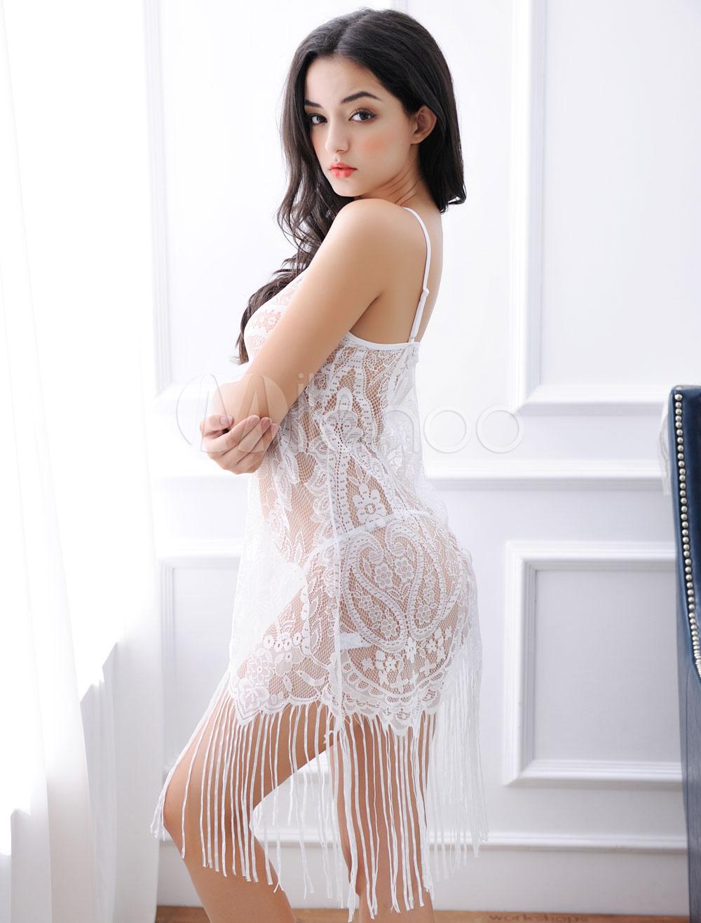 White Lace Babbydoll Set Sexy Fringe Semi Sheer Mini Dress Lingerie And T Back