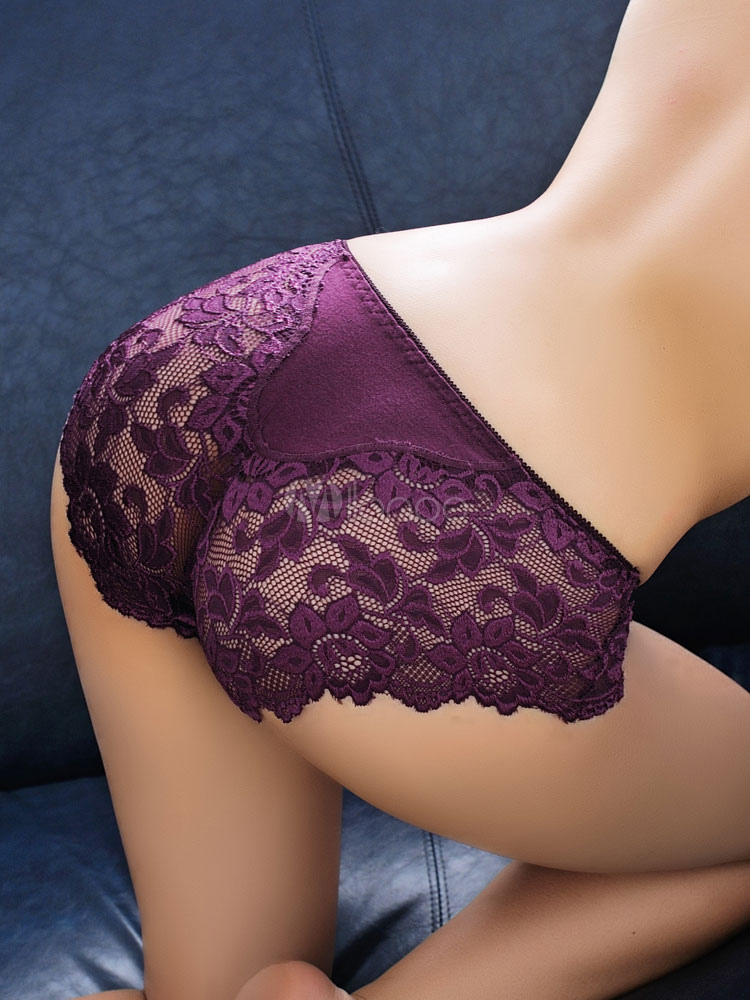Lace Sexy Panties Fuchsia Jacquard Sheer Brief Underwear Lingerie Cheap clothes, free shipping worldwide