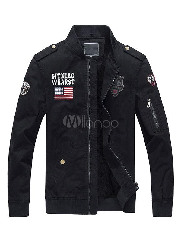 Black Cotton Jacket Lined Badge Zip Up Windbreaker Jacket For Men