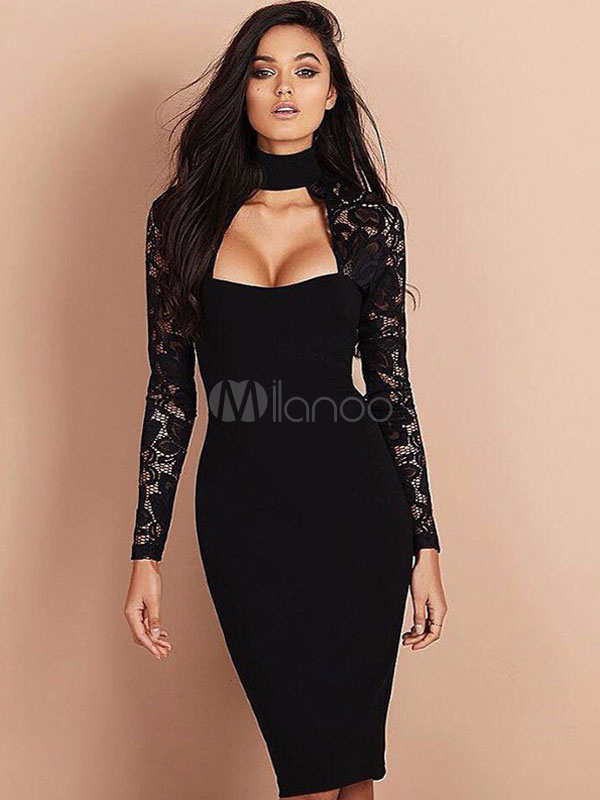 Bodycon Choker Dress Long Sleeve Black Midi Dress