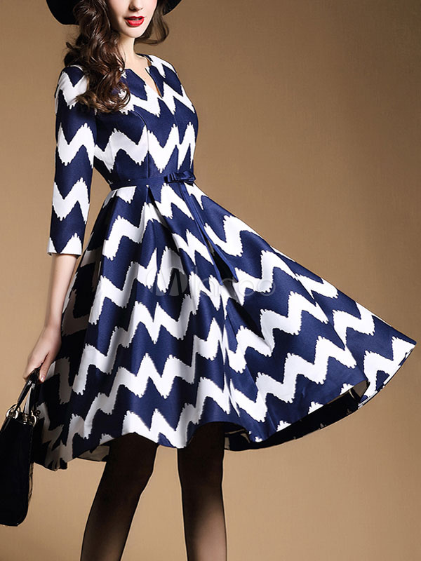 Milanoo / Women's Skater Dress Zigzag Pattern V Neck Pleated Bow Fit And Flare Dress