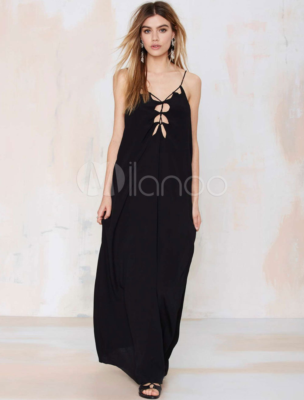 Buy Black Maxi Dress Strappy Sleeveless Cut Out Backless Cotton Long Dress for $35.99 in Milanoo store
