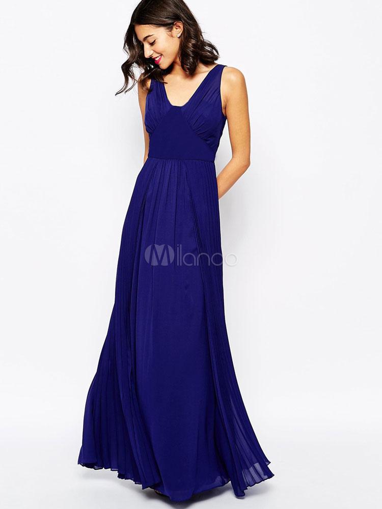 Buy Chiffon Maxi Dress Deep Blue V Neck Sleeveless Pleated Long Dress for $30.39 in Milanoo store