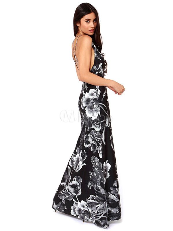 3637a3b2fe227 ... Robe longue noire robe à imprimé floral backless robe d'été sans  manches maxi robe ...