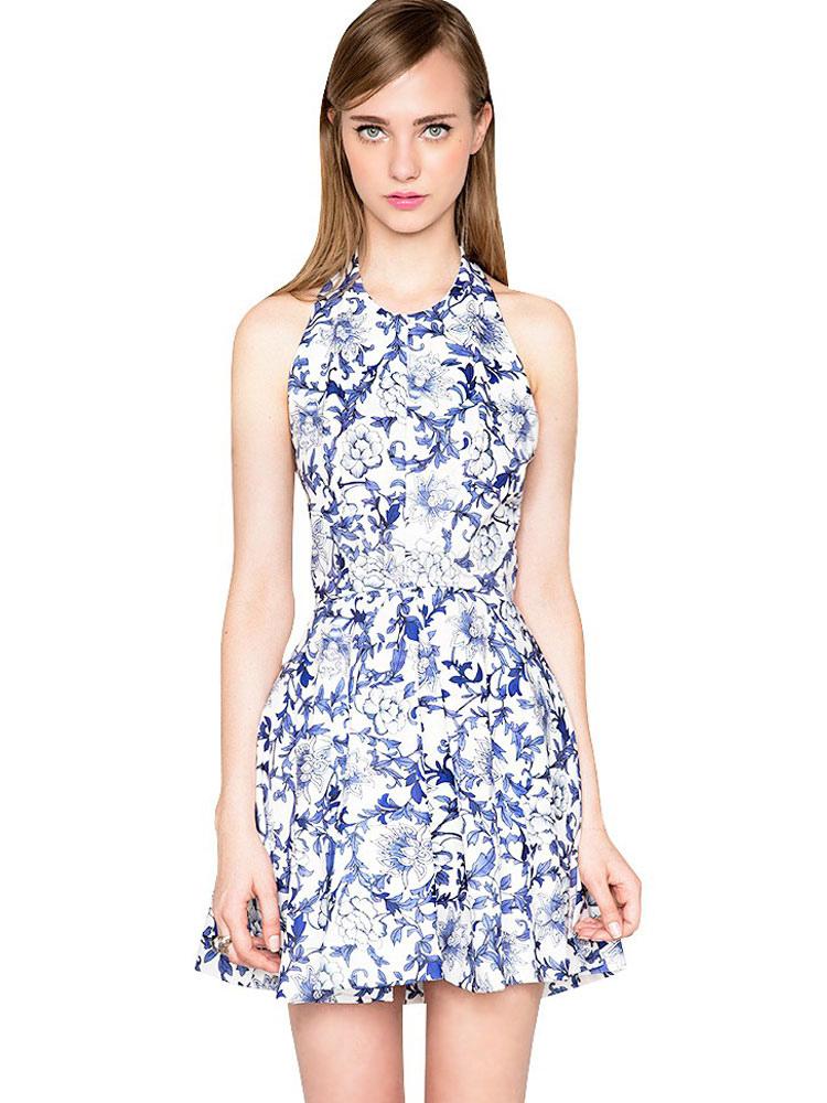 e97b5b77b3e0 Skater floreale abito Halter maniche corte Backless abito estivo donna una  linea vestito svasato-No ...