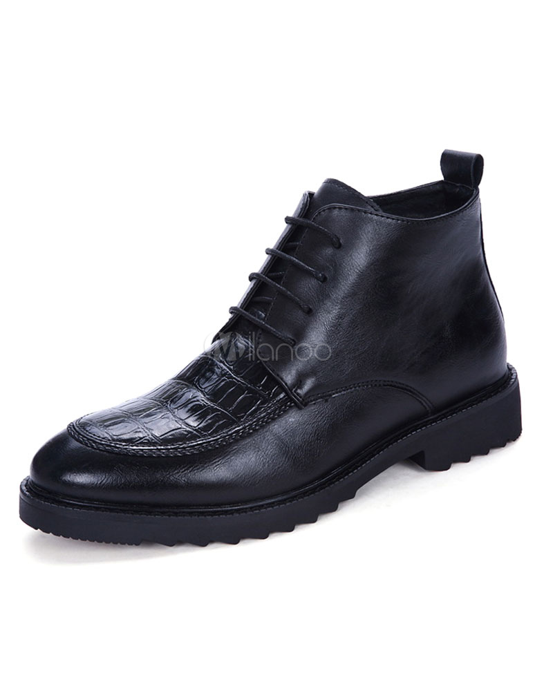 Black Ankle Shoes Men's Crocodile Round Toe Lace Up High Top Booties