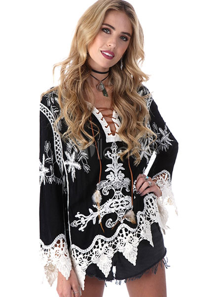 Women's Black Blouse Lace Up V Neck Lace Trim Long Sleeve Loose Top