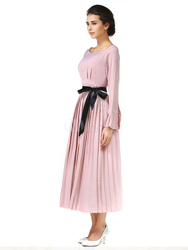 Maxi Dress in chiffon rosa Bell plissettato abito donna manica lunga con  Fascia-No. 6066fd05542
