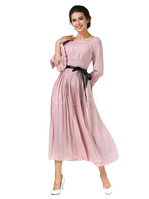 Chiffon Maxi Dress Women's Pink Pleated Bell Sleeve Long Dress With Sash