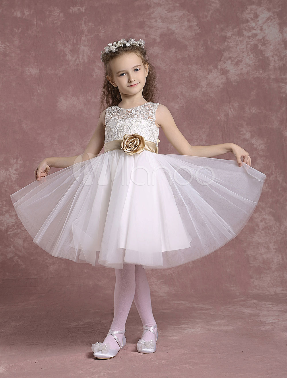 Buy Tulle Flower Girl Dresses Ivory Lace Pageant Dresses Toddler's Zipper A Line Knee Length Formal Dresses With Flower Sash for $68.39 in Milanoo store
