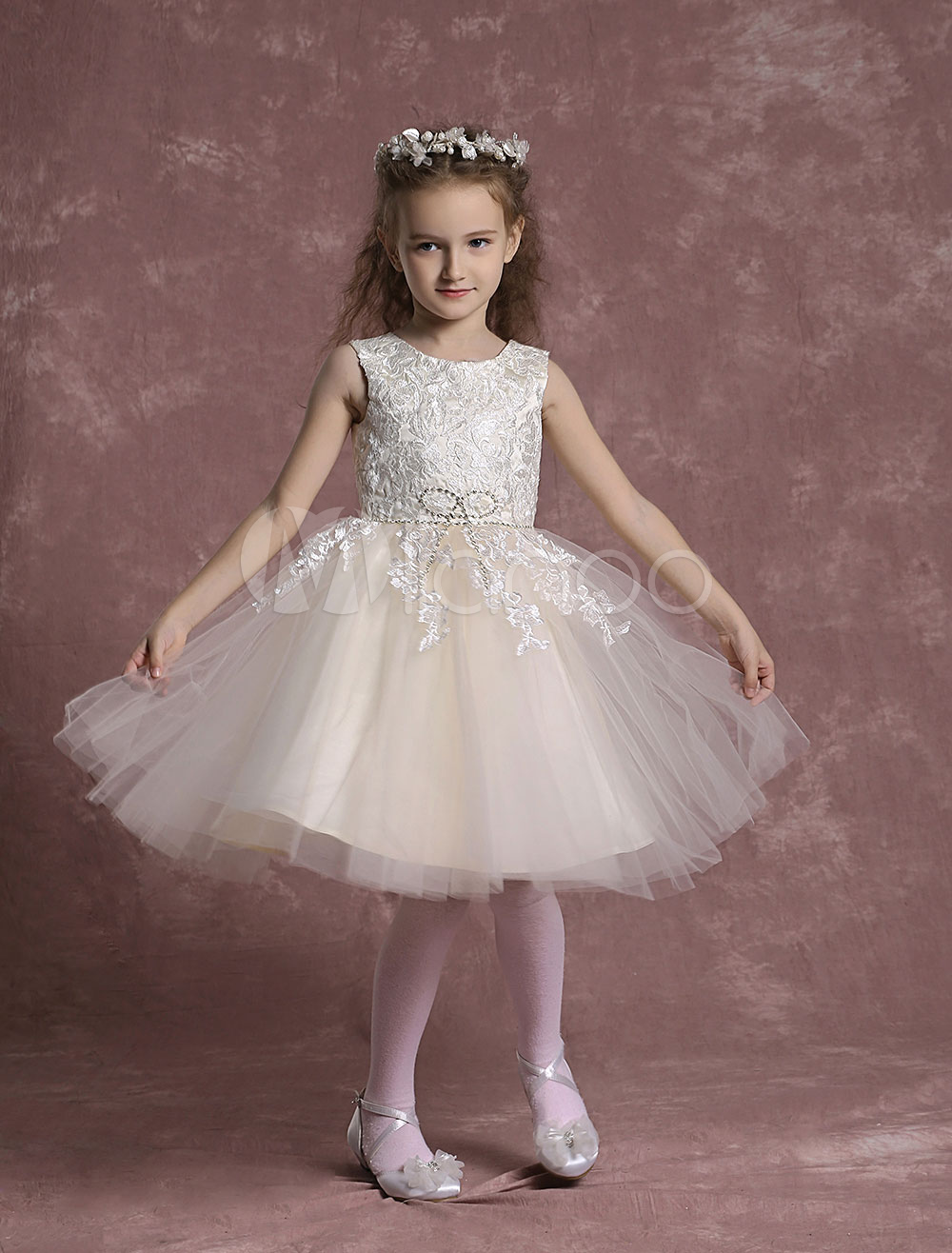 Champagne Flower Girl Dresses Tulle Lace Pageant Dresses Toddler's Zipper Knee Length A Line Formal Dresses
