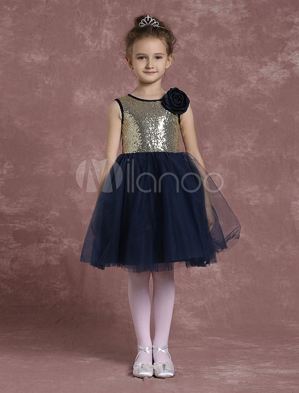 Buy Sequined Flower Girl Dresses Black Tulle Pageant Dresses Toddler's Zipper Knee Length A Line Formal Dresses With Flower for $68.39 in Milanoo store