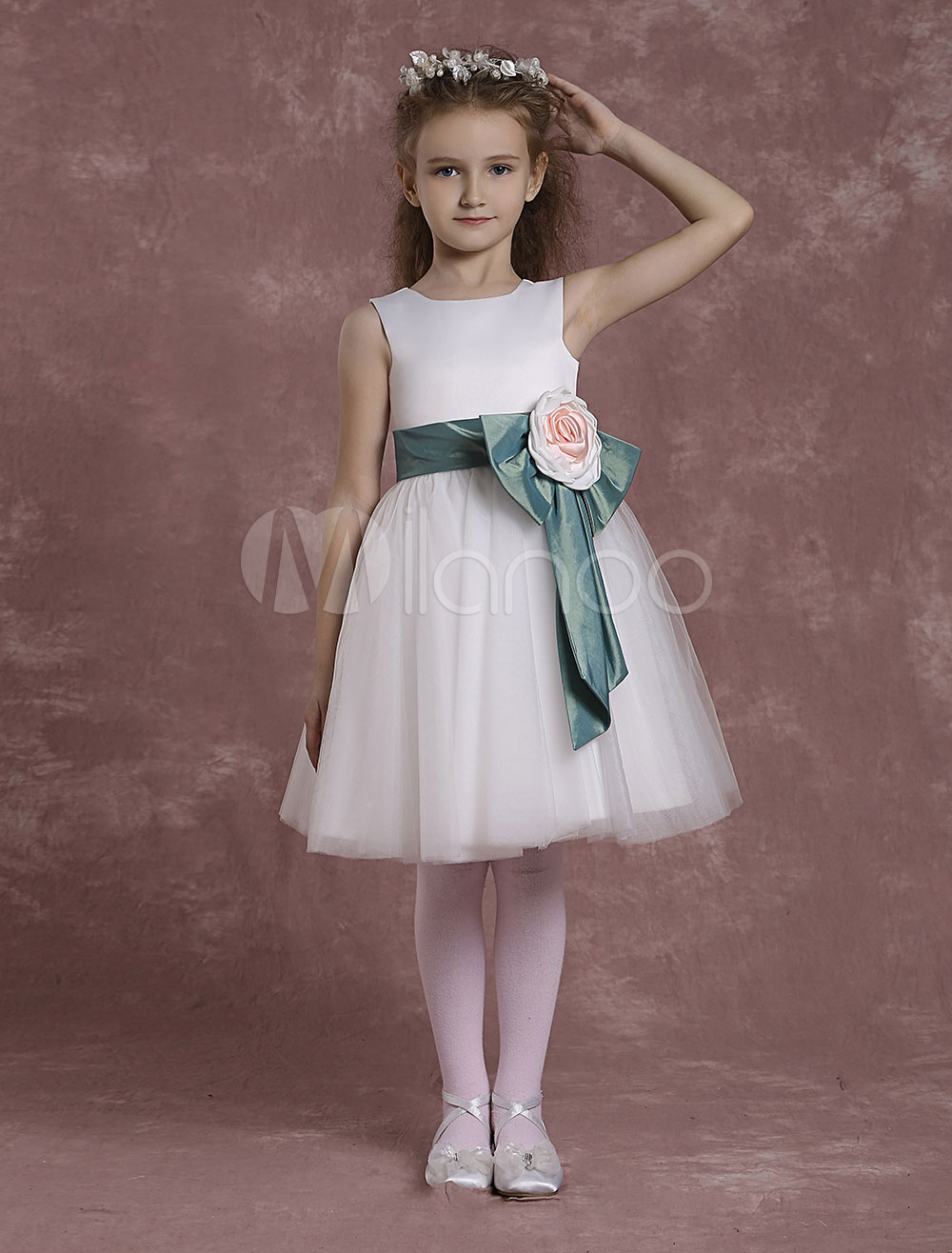 Buy Ivory Flower Girl Dresses A Line Tulle Pageant Dresses Toddler's Satin Knee Length Crewneck Sleeveless Formal Dresses With Flower Sash for $68.39 in Milanoo store