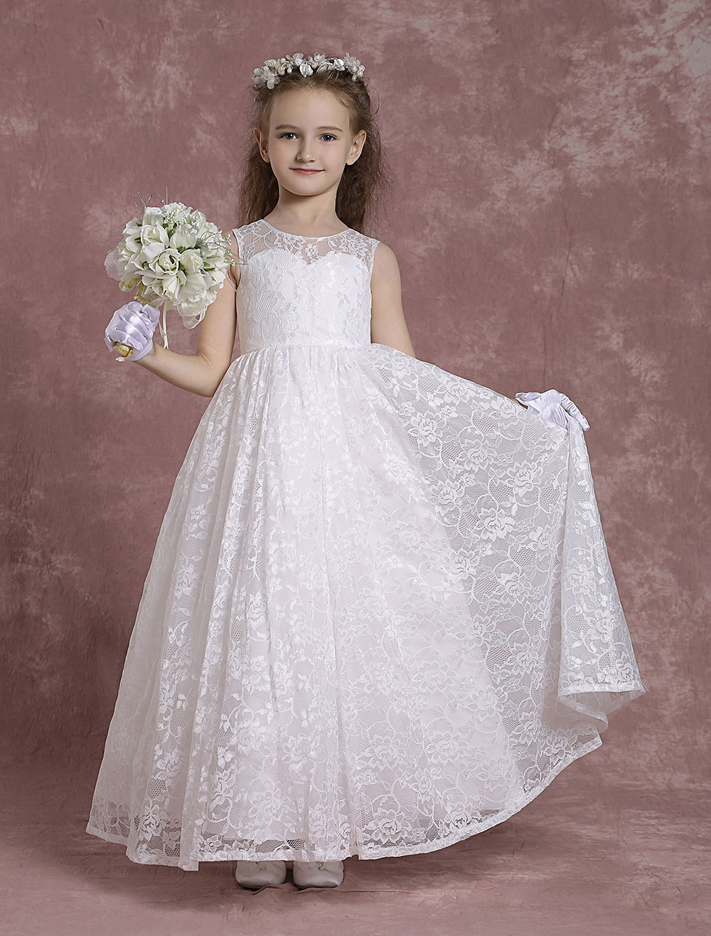 Lace Flower Girl Dresses A Line Pageant Dresses Toddler's Ivory Zipper Sleeveless Ankle Length First Communion Dresses