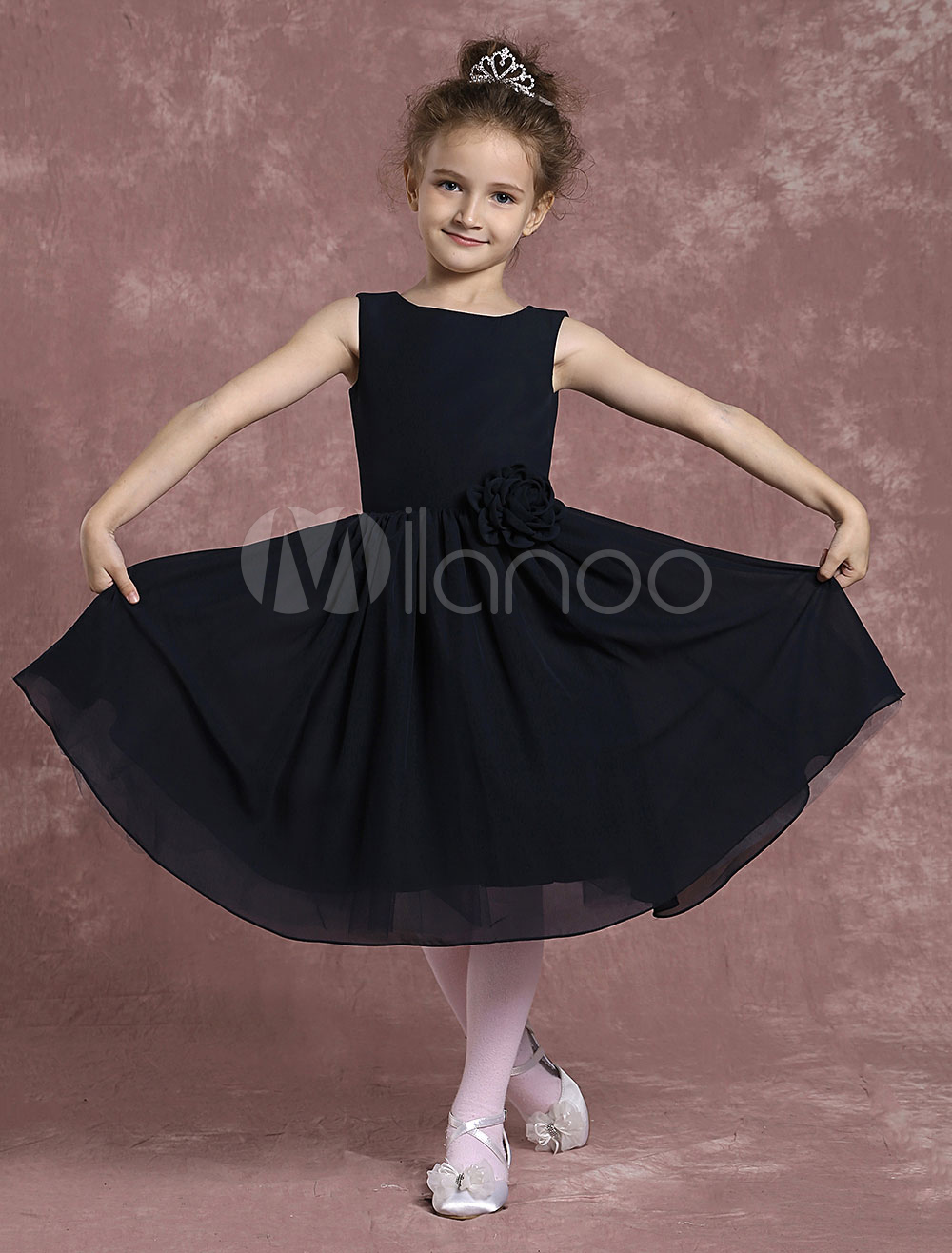 Buy Black Flower Girl Dresses A Line Chiffon Pageant Dresses Toddler's Zipper Knee Length Fomal Dresses With Flower for $64.79 in Milanoo store