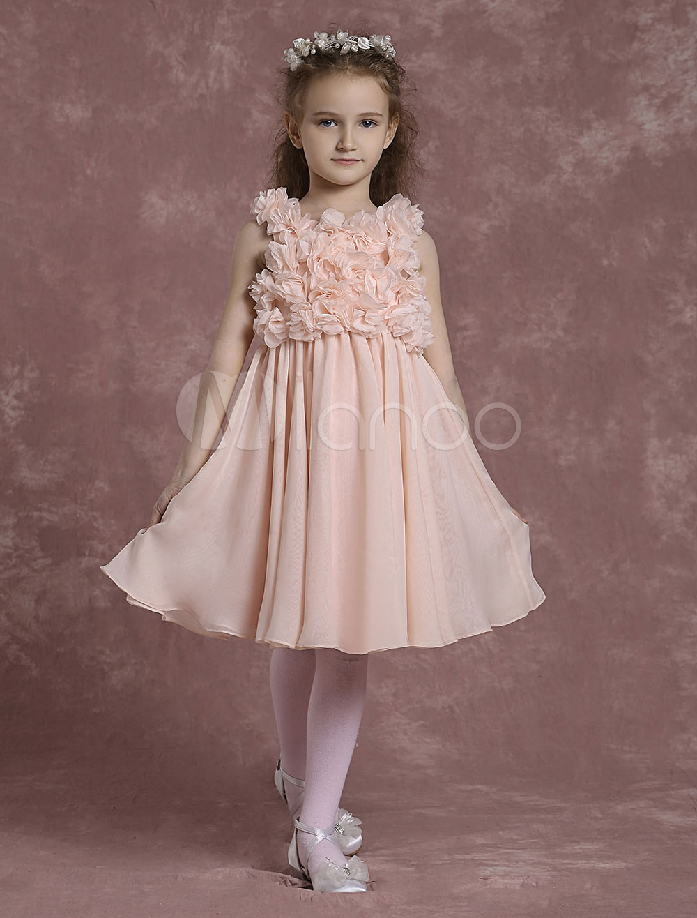 Buy Pink Flower Girl Dresses A Line Chiffon Pageant Dresses Toddler's Pleated Knee Length Dinner Dress With Flowers for $89.09 in Milanoo store