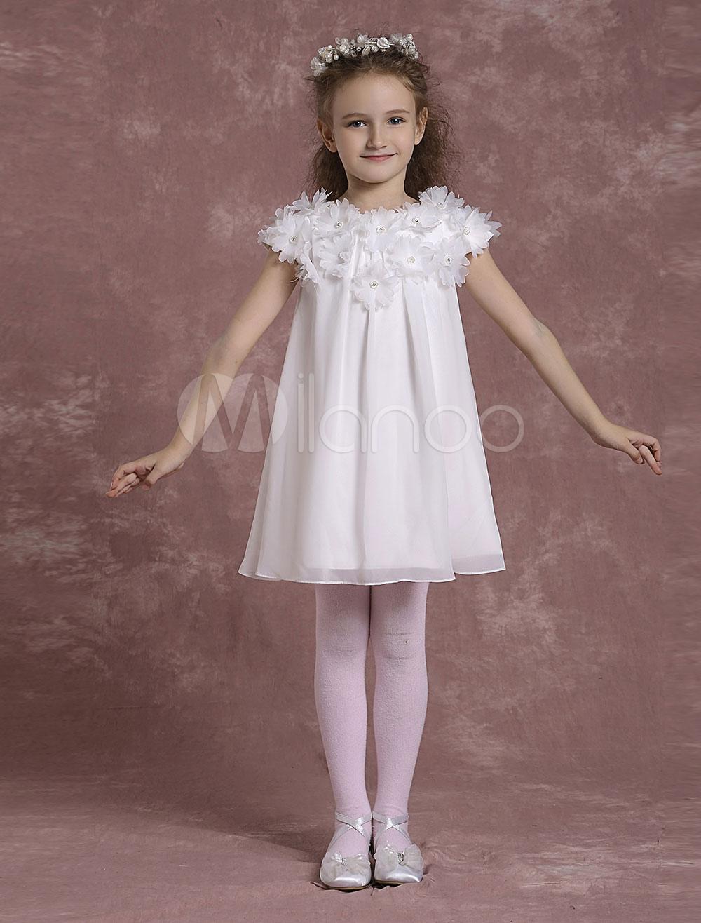 Ivory Flower Girl Dresses Short Chiffon Pageant Dresses Toddler's Zipper Flowers A Line Formal Dresses