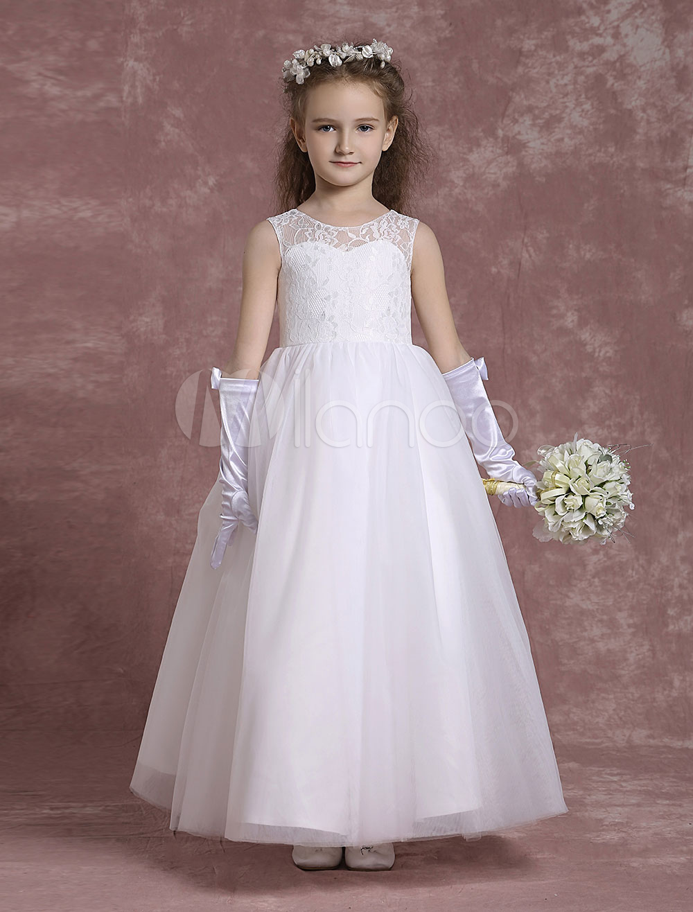 Buy Tulle Flower Girl Dresses A Line Pageant Dresses Toddler's Ankle Length Sleeveless Formal Dresses With Zipper for $71.09 in Milanoo store