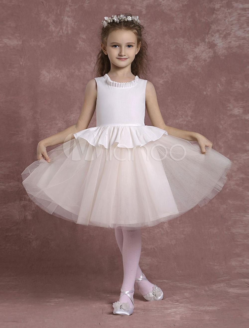 Buy Tulle Flower Girl Dresses Peplum Pageant Dresses Toddler's Zipper Ruffles A Line Knee Length Formal Dresses for $72.89 in Milanoo store
