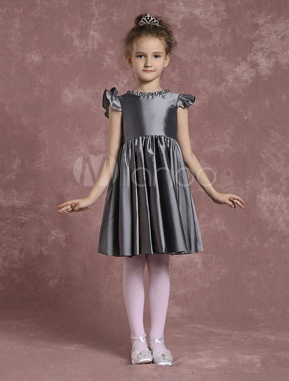 Buy Grey Flower Girl Dresses Knee Length Taffeta Pageant Dresses Toddler's Zipper Pleated A Line Formal Dresses for $58.89 in Milanoo store