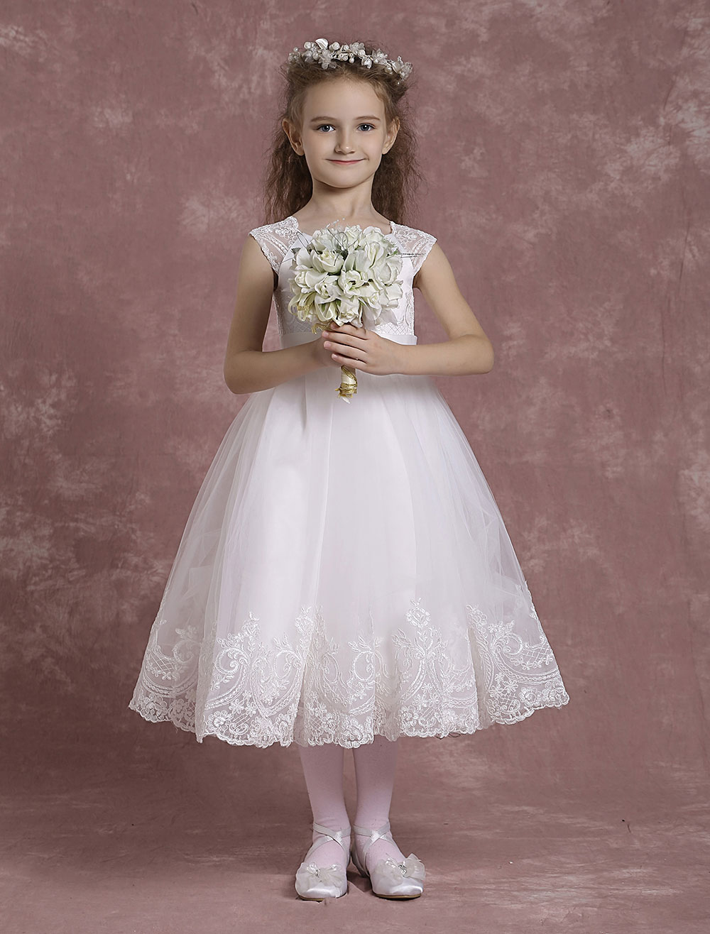 Buy Ivory Flower Girl Dresses A Line Tulle Pageant Dresses Toddler's Lace Tea Length Formal Dresses for $86.39 in Milanoo store