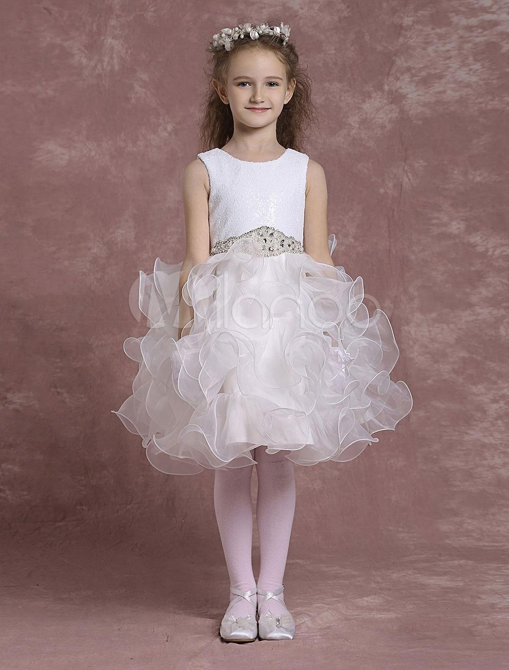 a6adc2d91 Flower Girl Dresses Knee Length Organza Pageant Dresses Toddler's Cute  Crewneck Short Ball Gown - Milanoo.com