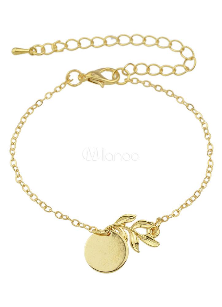 new concept 7b84e ed3ab Foglia lega chiusura bracciale gioielli moda catena d'oro Bracciali donna