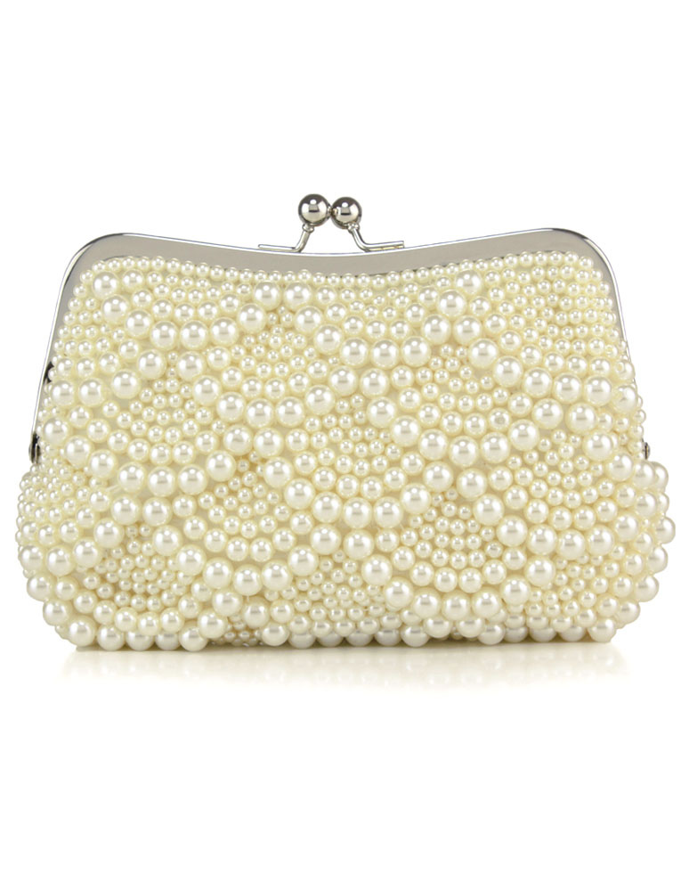Pearls Wedding Bags Ivory Kiss Lock Purse Beaded Evening Clutch Bag