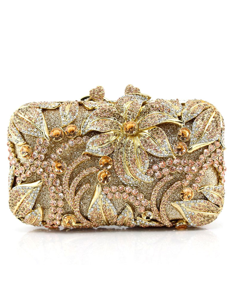 Evening Clutch Bag Champagne Bridal Purse Rhinestone Beaded Flowers Wedding Box Handbag