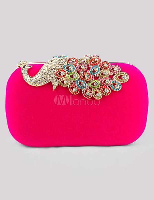 Evening Clutch Bag Wedding Box Handbag Rhinestone Peacock Deco Bridal Purse
