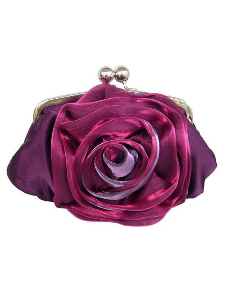 Wedding Clutch Bags Black Rose Flower Clasp Lock Evening Handbags