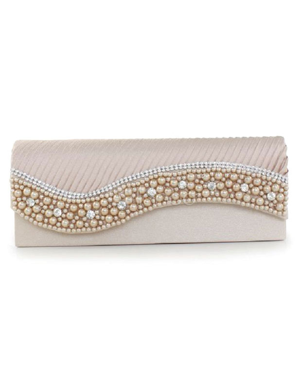 Buy Wedding Clutch Handbags Beaded Satin Pleated Single Chain Strap Bridal Evening Bags for $14.99 in Milanoo store