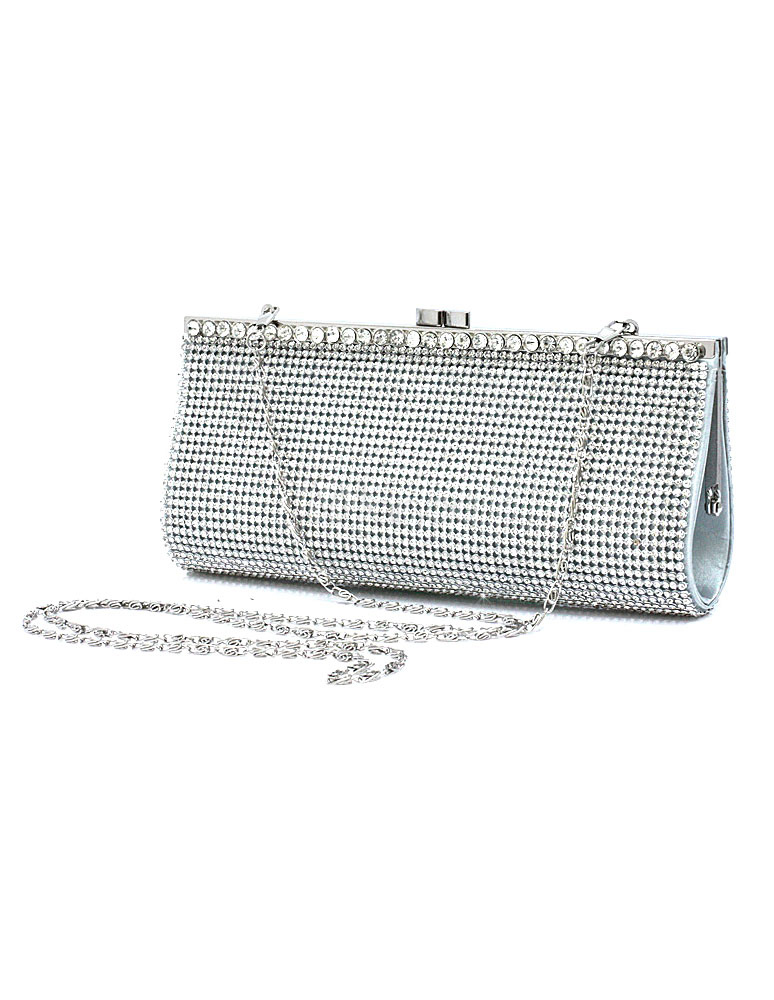 Buy Bridal Clutch Bags Silver Rhinestone Handbags Glitter Wedding Evening Bags With Chain Strap for $19.99 in Milanoo store