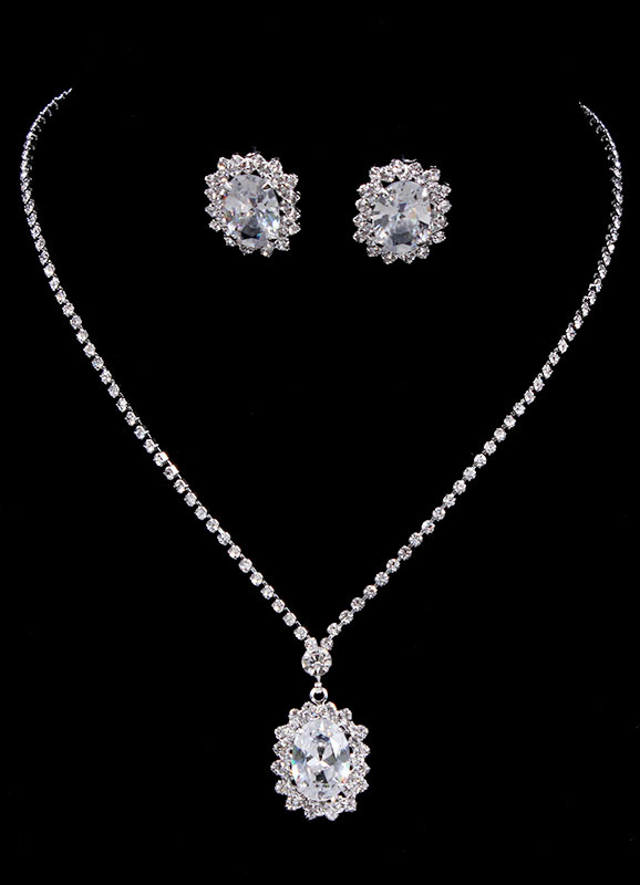 Vintage Wedding Jewelry Silver Bridal Necklace Set With Rhinestone Stud Earrings