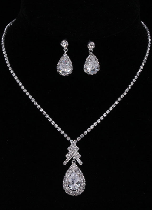 Wedding Jewelry Sets Silver Vintage Rhinestones Pendant Necklace With Drop Earrings