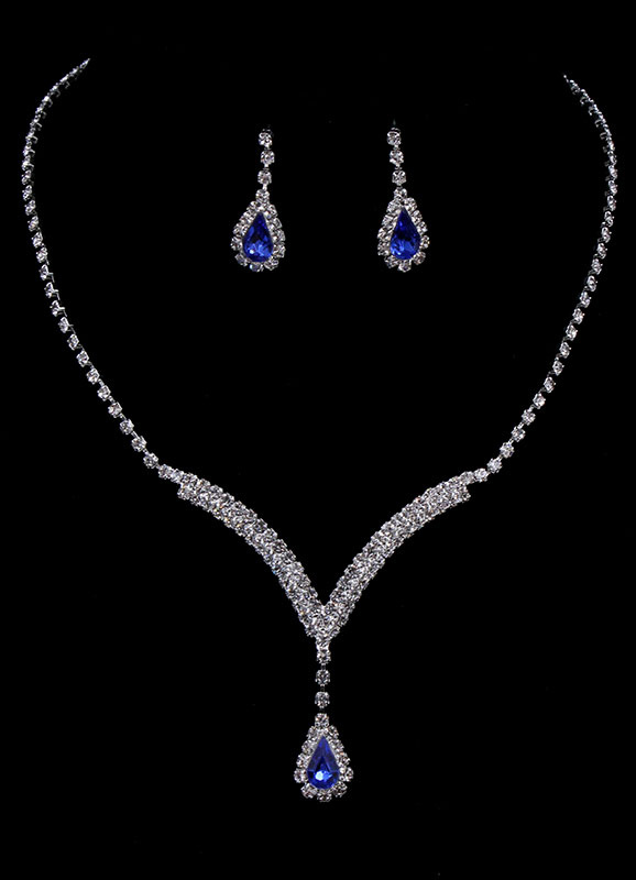 Wedding Jewelry Set Vintage Bridal Rhinestone Pendant Necklace With Drop Earring
