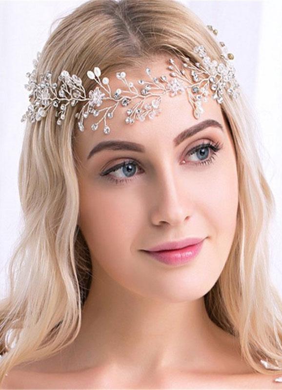 Buy Gold Wedding Headpiece Alloy Rhinestone Pearls Bridal Headband for $14.99 in Milanoo store