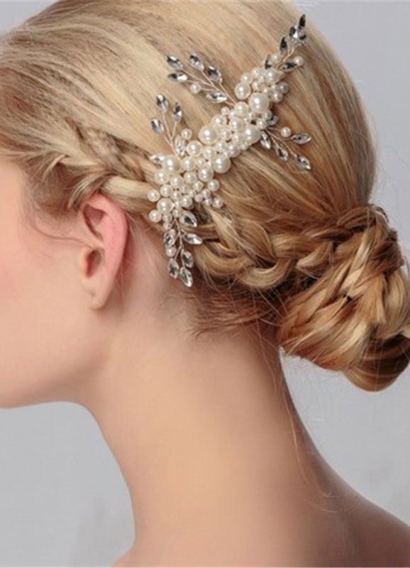 Buy Ivory Wedding Headpiece Rhinestone Pearls Detail Bridal Comb for $14.99 in Milanoo store