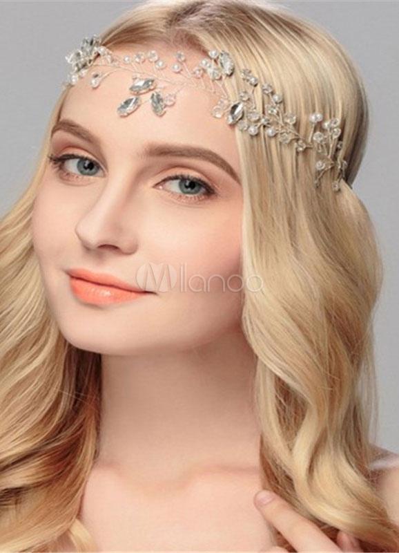 Buy White Wedding Headpiece Rhinestone Headband Bridal Hair Jewelry for $14.99 in Milanoo store