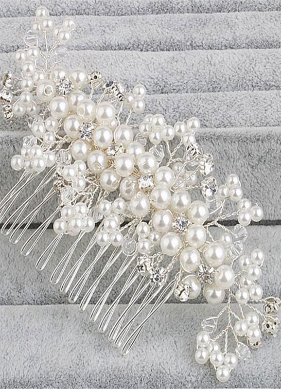 White Wedding Headpiece Rhinestone Pearls Bridal Comb