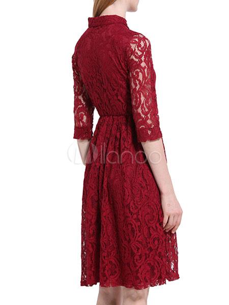 631cee9045c ... Dentelle Bordeaux Robe col Turndown 3 4 longueur manches Slim Fit robe  patineuse plissée- ...