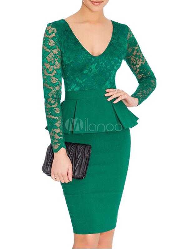 4f9a2042a23c Vestito aderente verde V collo manica lunga Peplum Patchwork tubino in pizzo-No.1  ...