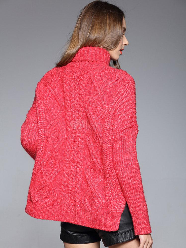 più recente dca2e 77131 Fiocco fiocco laterale fessura cavo maglione maglia Pullover rosso maglione  collo alto donna